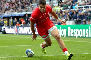 Saracens' Scotland wing Sean Maitland scores a try in the Champions Cup final over Leinster. Picture: David Davies/PA Wire