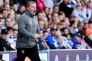 Neil Lennon shouts instructions at his team. The Celtic interim boss was subjected to sectarian abuse during the game. Picture: SNS Group