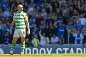 Scott Brown looks on as Rangers double their lead. Picture: SNS Group