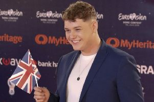 Michael Rice of Great Britain poses during a presentation of the 2019 Eurovision Song Contest participants in Tel Aviv, Israel, Sunday, May 12, 2019.(AP Photo/Ariel Schalit)