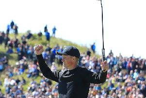 Marcus Kinhult  celebrates after winning the British Masters at Hillside.