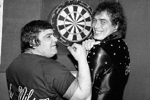 Jocky Wilson and Bobby George, two of the semi-finalists in the Embassy World Professional Dart championship 1982, at Stoke.