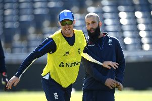 Jason Roy, left, shares a joke with England team-mate Moeen Ali ahead of the 3rd Royal London One Day International match against Pakistan in Bristol. Picture: Stu Forster/Getty