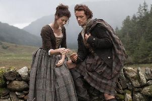 The romance between Jamie (Sam Heughan) and Claire (Catriona Balfe) is set against a stunning backdrop of gorgeous Scottish locations.