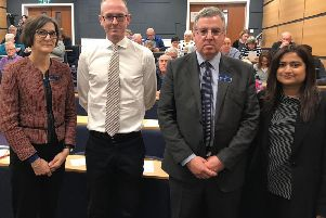 ScotRail's communications director Sue Evans, John Lamont MP, operations director David Simpson and engineering director Syeda Ghufran.