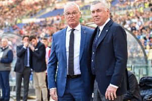 Dilly-Ding: Claudio Ranieri with Carlo Ancelotti. Picture: Getty Images
