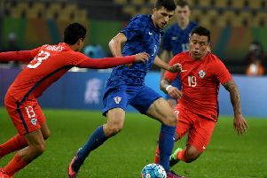 Mirko Maric (centre) in action for Croatia against Chile. Picture: Getty Images