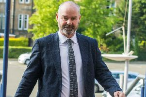 Steve Clarke arrives at Hampden for his disciplinary hearing. Picture: SNS Group