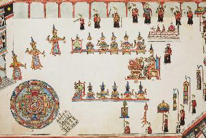 Drawing of ancient Buddhist ceremony which shows Tibetan monks holding a bell and dorje - a thunderbolt symbol - which Dr TA Wise believed inspired the Pictish double disc symbol which can be found on standing stones across the north and east of Scotland. PIC: British Library.