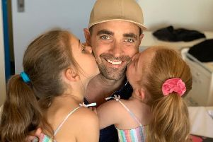 Gennaro Rapinese with his daughters Mia, seven, and Stella, six. Picture: Contributed