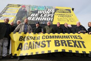 Members of Border Communities Against Brexit protest on the irish border (Picture: Niall Carson/PA Wire)