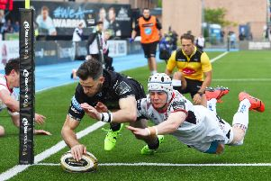 Tommy Seymour dives over in the corner to score Glasgow's opening try inside three minutes. Picture: Bill Murray/SNS