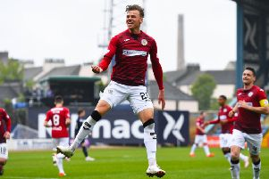 Cody Cooke's goals against Dundee proved to be fruitless, due to Hamilton's win. Pic: SNS