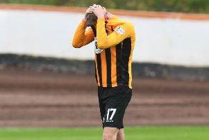 It's all too much for Grant Rose as the final whistle signals Berwick's demise following the 7-0 aggregate defeat by Cove Rangers. Picture: SNS