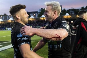Ali Price, left, and Stuart Hogg enjoy the moment following Glasgow's victory over Ulster. Picture: SNS/SRU.
