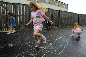 Families at the housing development in Bishopbriggs, East Dunbartonshire, were sent a letter by the property factor demanding children stop using chalk - which they play hopscotch with. Picture: Glasgow Evening Times/SWNS