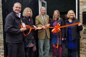 From left: Allan Walker, Jane Gentleman, Sir Michael Strang Steel, Emma Gentleman and Susan Myatt at the cutting of the ribbon. Not in picture: David Myatt.