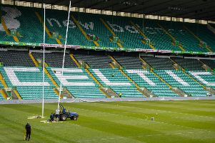 20/05/19'CELTIC PARK - GLASGOW'A general view of Celtic Park, as the rugby goalposts are erected ahead of Saturday's Guinness Pro14 Final between Glasgow Warriors and Leinster
