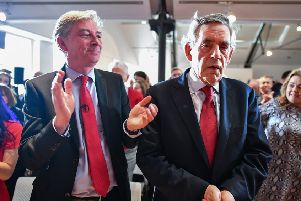 Scottish Labour leader Richard Leonard and former prime minister Gordon Brown with party members and candidates for the European elections at a rally in Glasgow. Picture: PA