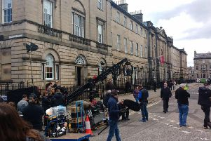 Crews could be seen in Edinburgh today