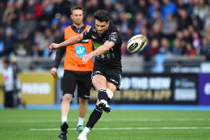 Adam Hastings, converting Glasgow's third try in their semi-final victory over Ulster, is relishing his clash with Johnny Sexton. Picture: SNS
