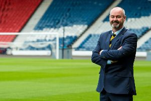 Steve Clarke stands on the Hampden turf at his unveiling as Scotland manager. Picture: SNS.