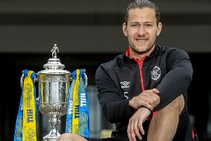 Hearts' Peter Haring with the William Hill Scottish Cup. Picture: Bill Murray/SNS