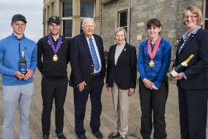 Ben Caton (men's runner-up), John Paterson (men's winner), Sir Michael Bonallack and Lady Bonallack, Ellen Caton (women's winner) and Claire Hargan (women's runner-up). Picture by Alan Richardson.