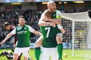 David Gray celebrates with Daryl Horgan. Pic: SNS