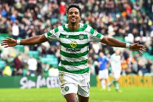 Scott Sinclair celebrates after scoring against St Johnstone in the fifth round. Pic: SNS
