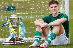 Celtic's Kieran Tierney with the Scottish Cup. Picture: