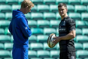 Leinster head coach Leo Cullen, left, speaks to Johnny Sexton. Picture: Bill Murray/SNS