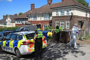 "Police at a property on Gregg House Road in Shiregreen, Sheffield, after six children were taken to hospital following a ""serious incident"". Picture: Danny Lawson/PA Wire"