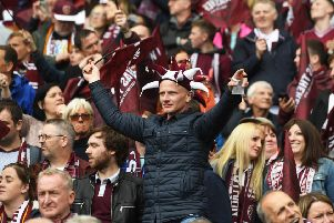 Hearts fans backing their team during the final. Pic: SNS/Craig Foy