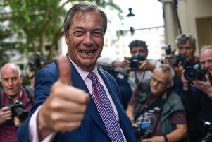Brexit Party leader Nigel Farage celebrates after his party received the most votes in the UK's European Parliament elections (Picture: Peter Summers/Getty Images)