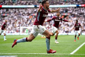 Aston Villa's John McGinn celebrates scoring his side's second goal of the Championship Play-off final aagainst Derby County. Picture: Scott Wilson/PA Wire