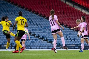 Erin Cuthbert equalises for Scotland with  a superb shot from outside the penalty area. Picture: SNS.