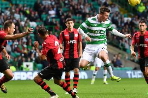 Callum McGregor causes problems for the Lincoln Red Imps defence during a Champions League qualifier in July 2016