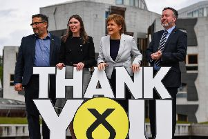 Nicola Sturgeon with three newly elected SNP MEPs Christian Allard, Aileen McLeod and Alyn Smith (Picture: Jeff J Mitchell/Getty Images)