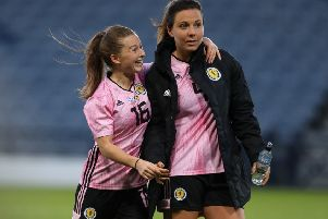 Scotland's Christie Murray and Rachel Corsie. Picture: Andrew Milligan/PA Wire