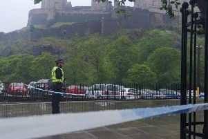 Castle Terrace was cordoned off yesterday