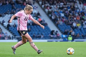 Erin Cuthbert scored during Scotland's 3-2 win over Jamaica in last week's warm-up game. Picture: Lorraine Hill