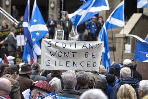 Pro-independence supporters gather in Glasgow. Picture: John Devlin
