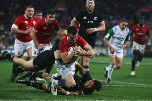 Conor Murray scores a try for the Lions against New Zealand in 2017. But the rugby calendar is now too full to allow 20 or more matches against provincial sides. Picture: Getty.
