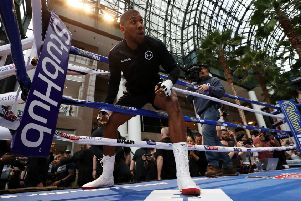Anthony Joshua steps into the ring for a training session ahead of his fight against Andy Ruiz at Madison Square Garden. Picture: Al Bello/Getty