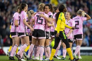 Scotland's Sophie Howard (C) celebrates her goal against Jamaica. Picture: SNS Group