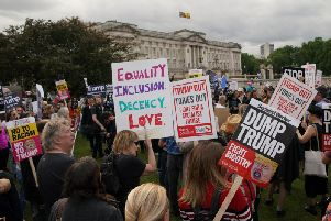 Thousands of people are expected to stage a second day of protests as US President Donald Trump continues his state visit.