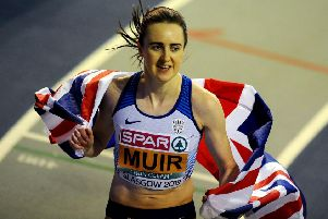 Laura Muir celebrates her 1500m win at the  European Indoor Athletics Championships in Glasgow. Picture Michael Gillen
