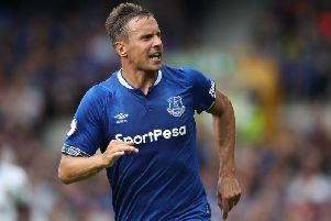 Phil Jagielka in action for Everton in a pre-season friendly, August 2018
