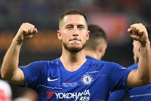 Eden Hazard celebrates after scoring during the Europa League final win over Arsenal last month, his final game for Chelsea. Picture: AFP/Getty